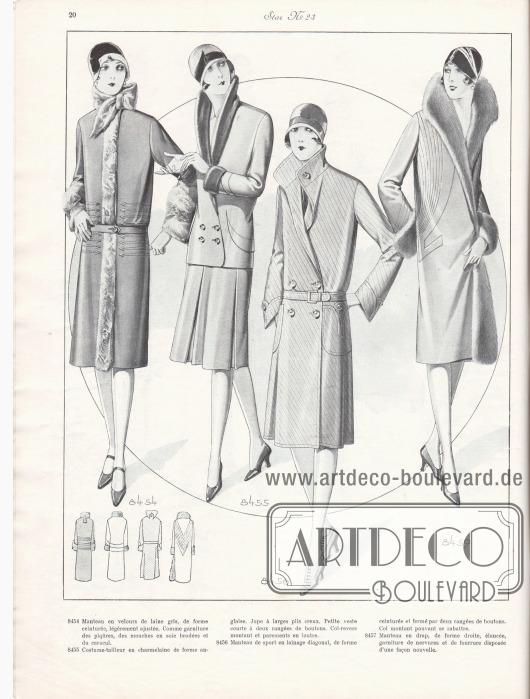 8454: Manteau en velours de laine gris, de forme ceinturée, légèrement ajustée. Comme garniture des piqûres, des mouches en soie brodées et du caracul. 8455: Costume-tailleur en charmelaine de forme anglaise. Jupe à larges plis creux. Petite veste courte à deux rangées de boutons. Col-revers montant et parements en loutre. 8456: Manteau de sport en lainage diagonal, de forme ceinturée et fermé par deux rangées de boutons. Col montant pouvant se rabattre. 8457: Manteau en drap, de forme droite, élancée, garniture de nervures et de fourrure disposée d'une façon nouvelle.
