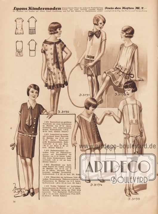 J 3170: Sommerkleid aus geblümter Waschseide mit rotem Seidenbesatz für Mädchen von 10 bis 12 Jahren. Kleidsamer, vorn eingeschlungener Kragen. Stoffverbrauch: 1,75 m 90 cm breit. (Kleiner Schnitt.) J 3171: Jumperkleid aus weißer und leuchtend blauer Bastseide für Mädchen von 8 bis 10 und 10 bis 12 Jahren. Faltenrock; große Krawattenschleife. Stoffverbrauch: 2 m zum Rock, 1,40 m zur Bluse je 80 cm breit. (Kleiner Schnitt.) J 3172: Hochsommerkleid aus weißem Voile mit Hohlsaumverzierung und Smocknäherei für Mädchen von 8 bis 10 Jahren. Außerdem kleine Stickereimotive. Stoffverbrauch: 1,25 m 110 cm breit. (Kleiner Schnitt.) J 3173 (Margot): Blusenkleid aus hochrotem Popelin mit weißem Aufputz für Mädchen von 10 bis 12 und 12 bis 14 Jahren. Mattgelbe Bandkrawatte; seitlicher Knopfschluß. Stoffverbrauch: 2 m 100 cm breit. (Kl. Schn.) J 3174: Hängerchen aus hellblauem Voile mit weißem Blendenbesatz, Hohlsaumverzierung u. Punktstickerei für Mädchen von 6 bis 8 Jahren. Stoffverbrauch: 1,90 m 110 cm breit. (Kl. Schn.) J 3175: Weißes Voilekleid mit buntfarbigen Stickereimotiven für Mädchen v. 12 bis 14 Jahren. Seitliche Gürtelpatten halten das Kleid faltig zusammen. Vorn Bindegürtel. Stoffverbrauch: 1,90 m 110 cm breit. Abplättmuster Preis 40 Pf. (f. Abonn.). (Kleiner Schnitt.) [Seite] 24