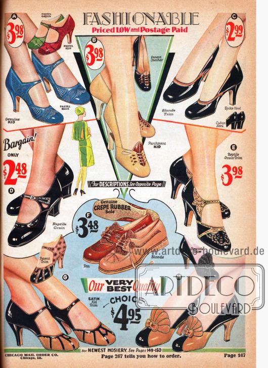 """Damenschuhe (Pumps, Schnallenschuhe und Sportoxfords) mit spitzem, hohem Absatz (engl. """"Spike Heel"""") oder einem etwas niedrigerem, dickeren kubanischen Absatz (engl. """"Cuban Heel""""). Die Schnallenschuhe und Pumps sind aus Ziegenleder, Lackleder, wobei mehrere Paare zusätzlich auch mit reptilienartig gemasertem Leder (G, E) oder wahlweise mit Brokat (H) gearbeitet sind. Bei der Auswahl von verschiedenen Ledersorten wird besonders gern mit farblichen Kontrasten gespielt. Ausstanzungen und ornamentale Perforationen ergeben interessante Muster. Die Sportschuhe im Zentrum (F) sind aus Kalbsleder und sind ebenfalls mit reptilienartig genarbtem Leder versehen."""