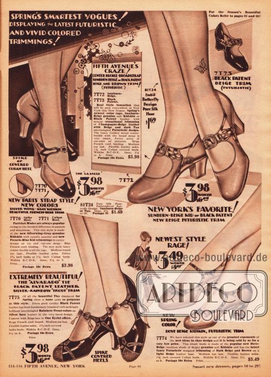 Sehr mondäne Riemchenschuhe mit dekorativen Schnallen für Frauen und junge Damen. Die Damenschuhe sind aus Lackleder oder Rindsleder, wobei unterschiedliche farbliche Kombinationen besonders reizvolle Dessins ergeben. Schmuckschnallen, Farbkontraste, Ausstanzungen und kleine Schleifchen geben jedem Modell einen unverwechselbaren, eigenen Charakter. Futuristische und modernistische Designs sind in der Schuhmode 1929 besonders en vogue, wie man es beispielsweise am Schuhpaar unten rechts sehen kann.