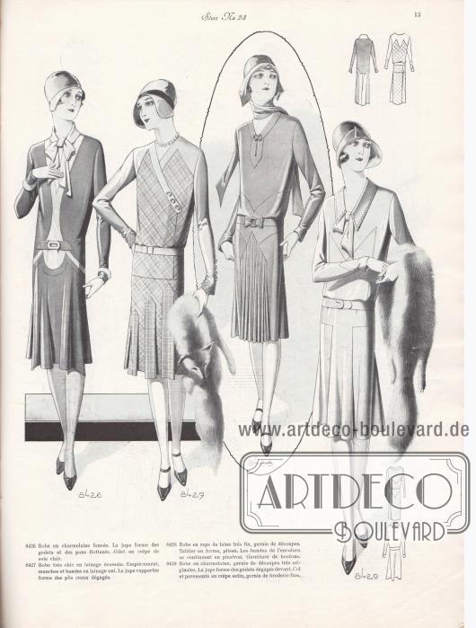 8426: Robe en charmelaine foncée. La jupe forme des godets et des pans flottants. Gilet en crêpe de soie clair. 8427: Robe très chic en lainage écossais. Empiècement, manches et bandes en lainage uni. La jupe rapportée forme de plis creux dégagés. 8428: Robe en reps de laine très fin, garnie de découpes. Tablier en forme, plissé. Les bandes de l'encolure se continuent en plastron. Garniture de boutons. 8429: Robe en charmelaine, garnie de découpes très originales. La jupe forme des godets dégagés devant. Col et parements en crêpe satin, garnis de broderie fine.