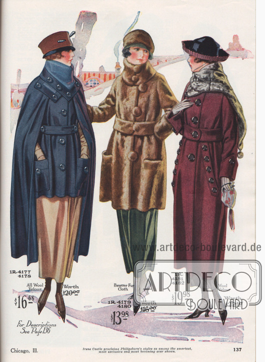 """Damenmäntel aus marineblauem Woll-Velours, hellbraunem Biberpelz-Plüsch und burgunderrotem Woll-Velours für Herbst und Winter 1919-20. Das erste Modell ist ein ungefütterter Kurzmantel mit großen aufgesetzten Taschen und weitem Cape, das offen getragen wird. Der hohe Kragen zeigt ein Stoffinlay aus hellerem Breitgewebe; zudem reiche Knopfgarnitur. Das zweite Modell ist ein kurzer Pelzmantel mit breitem Pelzgürtel, hohem Kragen, großzügig eingelassenen Taschen und mit Pelz bezogenen Knöpfen. Bunt geblümter Samt dient als Futter. Der dritte Mantel besitzt einen Kragen aus Kunstpelz (engl. """"Chinchilla fur fabric""""), dessen verlängertes Ende mit einem Pompon abschließt; große, schräg eingelassene Schlitztaschen mit Zierknöpfen."""