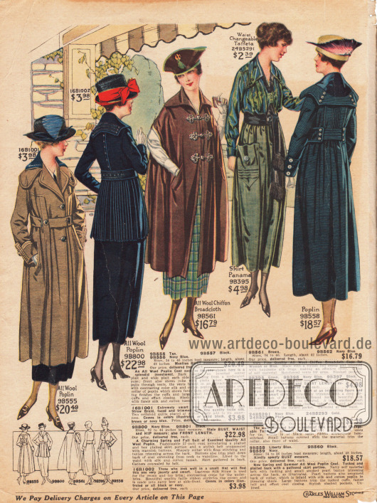 """Zwei Damenmäntel mit capeartig weiten und die Schultern überlappenden Kragen aus Woll-Popeline (links und rechts außen), einem Umhang aus Woll-Chiffon Breitgewebe mit verstärkten Armöffnungen und drei dekorativen Frontverschlüssen (Posamentenverschluss, hier engl. """"silk frogs""""), einem marineblauen Kostüm aus Woll-Popeline mit plissiertem Jackenschoß sowie einer Kombination bestehend aus einer grünen Taft Bluse und einem Rock aus grünem Panama mit großer Tasche. Die Kombination wird mit einem passenden schwarzen Gürtelband mit Seidenfransen getragen."""