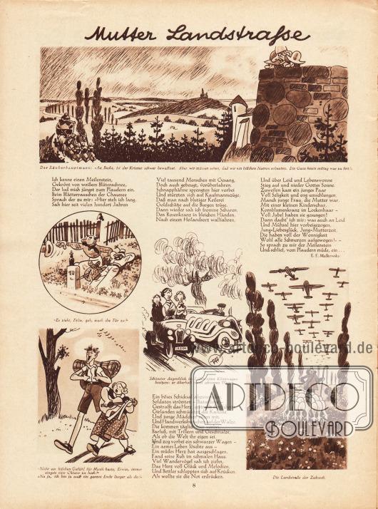 """Fünf Karikaturen zum Thema """"Mutter Landstraße"""" mit vier Reimen von E. F. Malkowsky.Zeichnungen: unsigniert."""