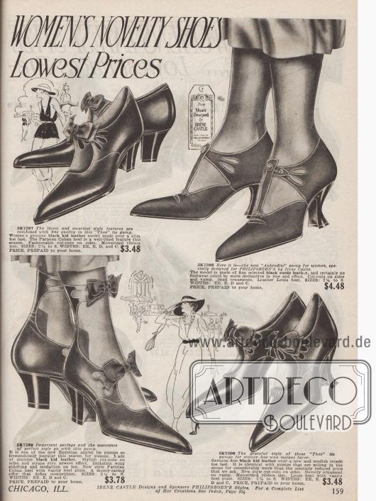 Doppelseite mit Damenpumps aus Lackleder und Wildleder mit originellen Schnallen. Perforationen, Ziernähte, Schleifen und kleine Glasperlen geben jedem Paar eine individuelle Note. Geschwungene Louis XIV Absätze und die sehr spitz zulaufenden Kappen sind typisch für die Schuhmode der frühen Zwanziger Jahre.