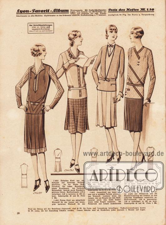 4011: Einfaches Kleid aus einfarbigem und kariertem Wollstoff gearbeitet. An der Weste Reißverschluß. Die hohen Manschetten zeigen Knopfbesatz. Am Vorderteil Bieseneffekt. Seitlich durch Einschnitte geleiteter Gürtel. 4012: Flottes Kleid aus jadegrünem Wollstoff für den Jumper und braun-grün kariertem Wollstoff für den Glockenrock und die Garniturblenden. Der schmale Gürtel mit Knopfschluß faßt die Weite leicht zusammen. 4013: Jumperkleid aus beigefarbenem und in gleichem Farbton gemustertem Wollstoff. Letzterer bildet den Jumper, den ein Einsatz aus dem Rockmaterial sowie eine weiße Seidenweste nebst Kragen ausstattet. Am Faltenrock und Jumper dunkelbraune Seidentresse. 4014: Jumperkleid aus sandfarbenem, gemustertem Phantasiewollstoff und braunem Wollrips gearbeitet. Letzterer ergibt den Plisseerock und die Blendenverzierung des Jumpers, an dem außerdem Knopfbesatz angebracht ist.