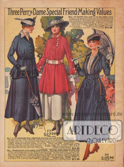 Feine Damenkleider der neuen Frühjahr/Sommersaison 1916.