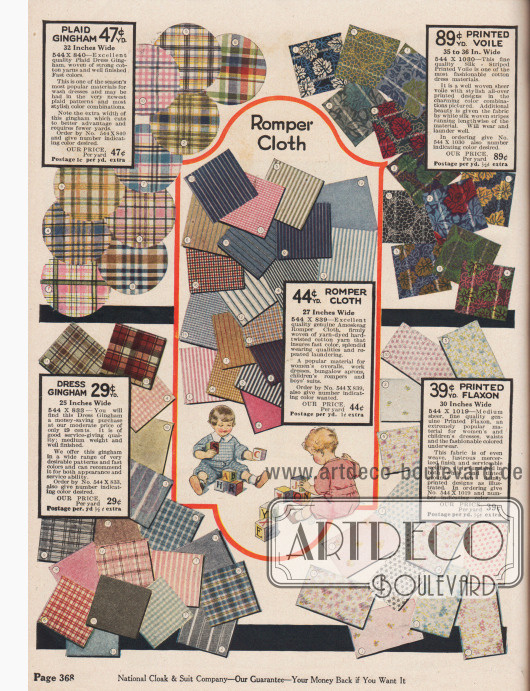 """Nähstoffe wie karierter Baumwoll-Gingham, bedruckter Voile (Schleierstoff), Amoskeag """"Romper Cloth"""" (strapazierfähiger Baumwollstoff, hergestellt von der Amoskeag Manufacturing Co. in Manchester, New Hampshire, USA) oder bedrucktes """"Flaxon"""" (merzerisierte Baumwolle) für einfache Haushaltskleider, Frauenkleider sowie vor allem für Kinderspielanzüge und Kinderkleidung. Die Breite der angebotenen Nähstoffe variiert zwischen 25 und 36 Inch (also 63,5 und 91,44 cm). Die Preise beziehen sich auf ein Yard Länge (91,44 cm) und liegen zwischen 29 und 89 Cent."""