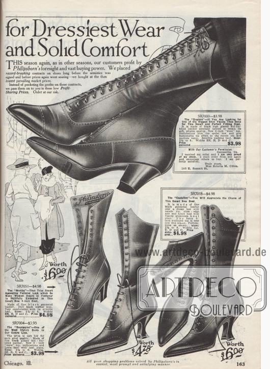"""""""[Elegante Modelle für Damen] zur kleidsamen Mode. [Extra hochwertige Stiefel] mit vollem Tragekomfort"""" (engl. """"[Women's Smart Styles] for Dressiest Wear. [Extra Quality Boots] and Solid Comfort """"). Damenstiefel zum Schnüren aus hochglänzenden Chevreauledern (Ziegenleder) mit dekorativen Lochlinienverzierungen oder kunstvollen Perforationen auf der Kappe (mittleres Modell unten namens Bourgoyne). Die Schuhe zeigen bequeme Laufabsätze (Kubanischer Absatz, dick und breit geformt) oder äußerst kleidsame Louis XIV Absätze (geschwungen und schmal)."""