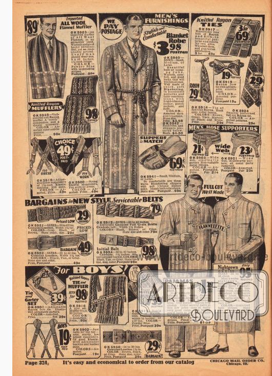 Seite mit Schals, Hosenträgern, Pantoffeln, Krawatten, Fliegen, Sockenhaltern, Ledergürteln, Hosenträgern, einem Bademantel aus Baumwollstoff und einem Schlafanzug (Pyjama) sowie einem Nachthemd aus Flanell für Männer.