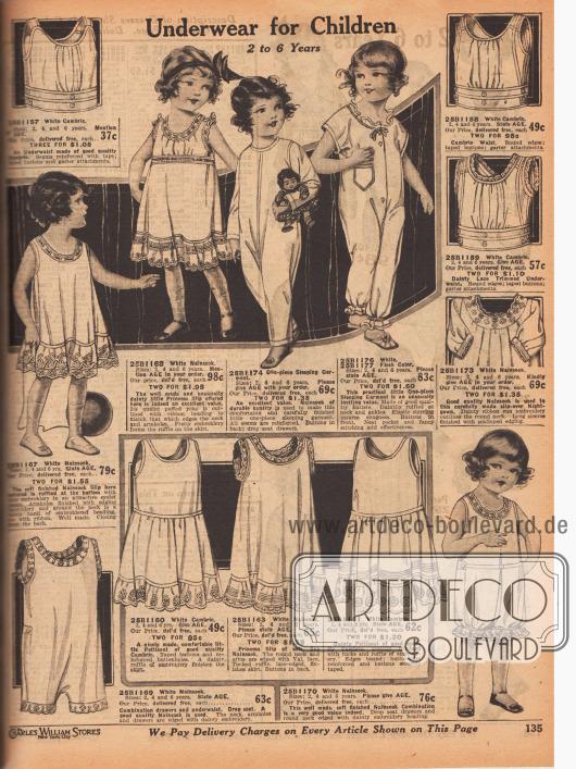 Unterwäsche und zwei einteilige Schlafanzüge aus weißem oder fleischfarbenem Batist oder Nainsook (Musselin; lockerer, feinfädiger Stoff aus Baumwolle) für 2 bis 6-jährige Mädchen und Jungen. Die Unterwäschestücke sind mit Rüschen, Stickereien, Hohlnähten oder gebogten Rändern versehen. Im Unterwäsche Angebot sind Untertaillen, lange Hemdchen, Prinzess-Hemdchen, Hemdchen mit Petticoat oder einteilige Hemd-Höschen Kombinationen.