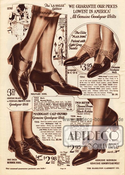 """Schnallenschuhe und ein Oxford-Paar aus Chevreauleder (Ziegenleder), Lackleder oder Rindsleder für Frauen.Alle Paare sind mit der """"Goodyear Welt"""" Produktionsmethode hergestellt und zeigen kleine Randperforationen. Oben rechts wird ein Schnallenschuh-Paar mit der 1924 sehr beliebten """"Mah Jong"""" Ausstanzung offeriert. Niedrige oder relativ niedrige Militärabsätze mit Gummisohle sind bei den Modellen zu finden."""