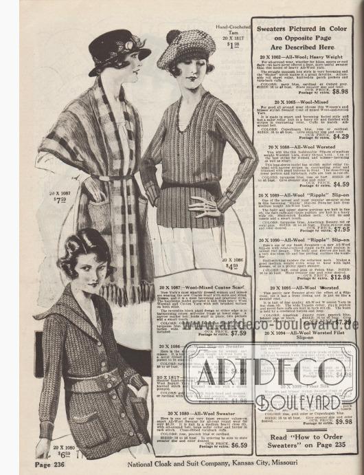 Strickwaren für Damen. Oben links befindet sich eine lange ponchoartige Strickjacke mit tiefem Schalkragen aus Kammwolle und gekämmter Baumwolle mit schmalem Gürtel, zwei Taschen und Fransen-Quasten am Saum. Rechts daneben ein Pullover aus mittelschwerem Wollgarn in Ripwebung und langem Schoß. Unten links eine Strickjacke bzw. Cardigan aus Wolle mit breitem Strickgürtel, Taschen und Matrosenkragen.