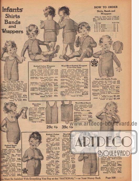 """""""Hemden, Bänder und Banderolen für Kleinkinder"""" (engl. """"Infants' Shirts, Bands and Wrappers""""). Weiche Unterhemdchen aus gerippten und gestrickten Baumwollstoffen oder Woll-Baumwoll-Mischstoffen, die um den Körper gewickelt und mit Bändern oder Knöpfen geschlossen werden. Hemdchen mit oder ohne lange Ärmel. Kanten mit gehäkelter Borte (engl. """"crocheted shell-stitching"""", Muschelstickerei). Für Babys, Säuglinge und Kleinkinder von 1 Monat bis 3 Jahren."""