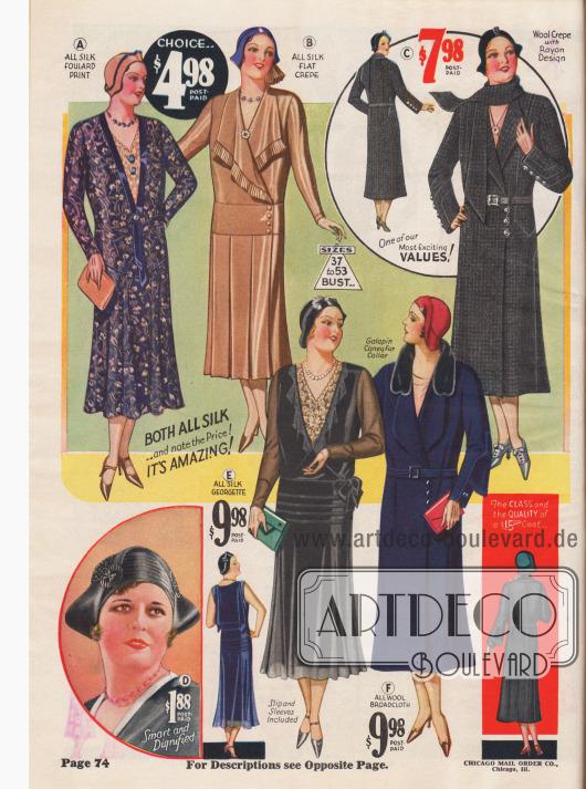 Elegante Kleider für die stämmige Dame mit charakteristisch längeren Rocksäumen als für schlankere Damen.