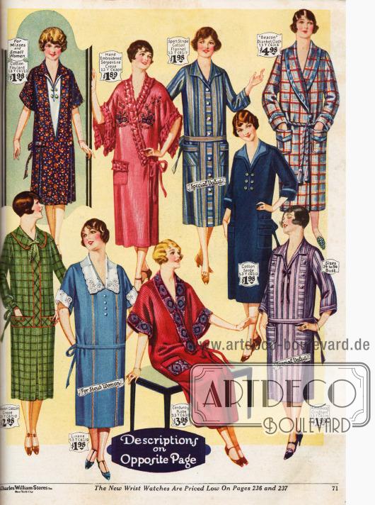 Sechs günstige Haushaltskleider aus Baumwollkrepp, Baumwolle und Foulard, Leinen, Baumwoll-Flanell, Baumwoll-Serge und Gingham. Auch ein Kimono in rosé sowie zwei Bademäntel aus rotem Kord und kariertem Seiden-Kord werden hier angeboten.