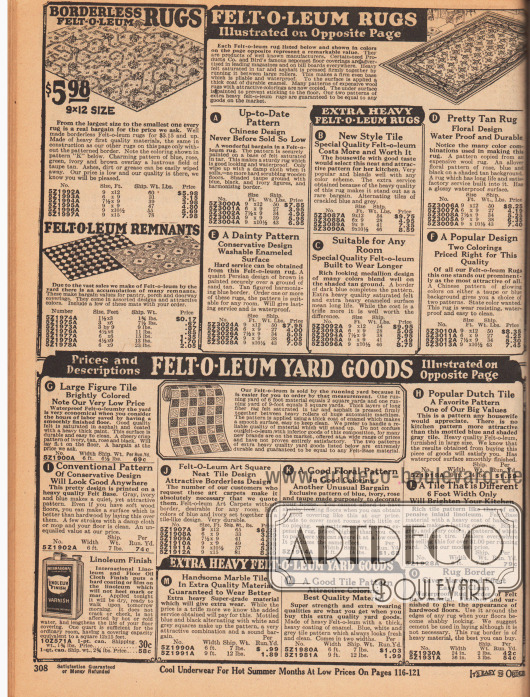 """Teppiche aus Linoleum (oben links) und Beschreibungen für die Teppiche und Bodenbelege (Meterware) aus Linoleum auf der gegenüberliegenden Farbseite 309. Die Linoleum Bodenbelege werden hier """"Felt-O-Leum"""" genannt (Savage Handelsmarke)."""
