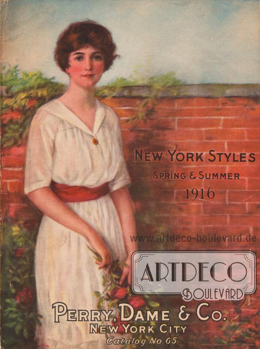 Titelseite bzw. Cover des Frühjahr/Sommer Versandhauskatalogs Nr. 65 der Firma Perry Dame & Company aus New York City, New York, USA von 1916.  Titelzeichnung: William Haskell Coffin (1878-1941).