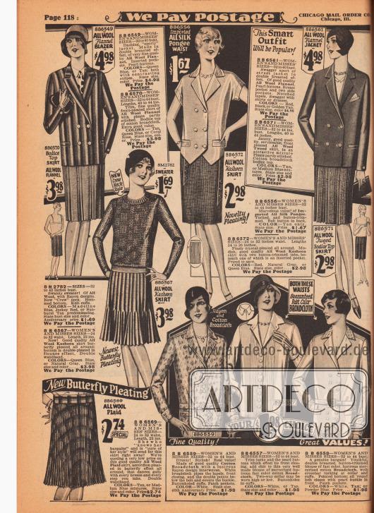 Sportliche Damenkleidung wie Blazer (leichte Sportjacke), Jacken, Röcke, Blusen und Pullover (Jumper). Die Röcke sind aus Woll-Flanell, Woll-Kasha, Woll-Tweed und Wollgewebe. Alle Röcke zeigen tiefe Kellerfalten, Kristallplissees, Akkordeonplissees oder Doppelplissees. Die Blazer und Jacken sind doppelreihig, das Modell links oben ist breit bunt gestreift. Der Jumper rechts darunter ist aus reiner Wolle gestrickt. Die Blusen sind aus importiertem Seiden-Pongee, Rayon und Baumwoll-Breitgewebe sowie merzerisiertem Baumwoll-Breitgewebe. Zwei Blusen sind doppelreihig. Spitz zulaufende Schöße und Biese geben interessante Noten.