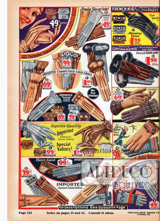 Seite mit teilweise importierten Handschuhen für Damen, junge Frauen und Kinder. Die Handschuhe sind aus verschiedenen Ledern, lederähnlichen Geweben und gestrickter Wolle. Links befinden sich die eleganten Kleidungs- und Stadthandschuhe mit feinen Ziernähten, Stickereien und Applikationen. Einige dieser Handschuhe sind mit Pelz versehen. In der rechten Spalte unten befinden sich Strickhandschuhe für Mädchen und junge Damen.