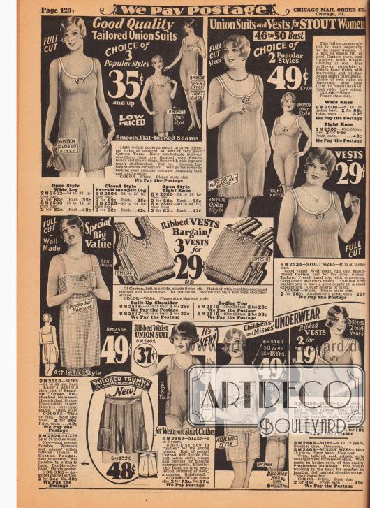 """Ärmellose und kurzbeinige Hemdhosen für die warme Jahreszeit für Damen, stärker gebaute Damen, junge Frauen und Mädchen von 2 bis 14 Jahren. Die Hemdhosen sind aus Feinripp-Baumwolle, Baumwolle mit """"elastic Swiss rip"""", fein kariertem Nainsook (besonders leichter Musselin, Baumwollgewebe) und Baumwoll-Pongee. Einige Modelle sind mit maschinell-gehäkelten Nähten und Rändern und zudem mit einer Schleife versehen. Unten links sind sportliche Hemdhosen zu finden."""