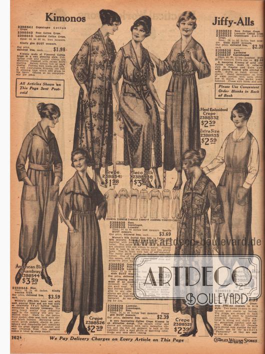 """Kimonos und Overalls (hier engl. """"Jiffy-Alls"""" genannt) für Damen. Die Kimonos, Morgenmäntel und Bademäntel sind aus geblümtem, bunt gemustertem oder unifarbenem Baumwoll-Krepp oder gepunktetem """"Seco Silk"""" (Baumwoll-Seiden-Mischgewebe). Die Kimonos sind mit Rüschen, Stickereien oder feinen Schleifen verschönt. Die Modelle werden mit schmalen Gürtelbändern oder Kordeln mit kleinen Quasten geschlossen oder sind gürtellos. Des Weiteren werden links und rechts auf der Seite schnell anziehbare Overalls aus amerikanisch-blauem Chambray (ähnlich Denim Jeansstoff) für Frauen offeriert. Die beiden hier angebotenen Overalls sind entweder ärmel- und kragenlos oder besitzen beides. Große aufgesetzte Taschen und Bündchen am Knöchel sind charakteristisch."""