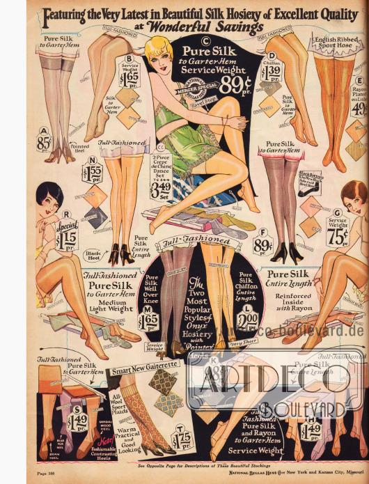 Damenstrümpfe aus reiner Seide und Rayon mit Fersenverstärkung und Naht für 49 ¢ bis 2 $.