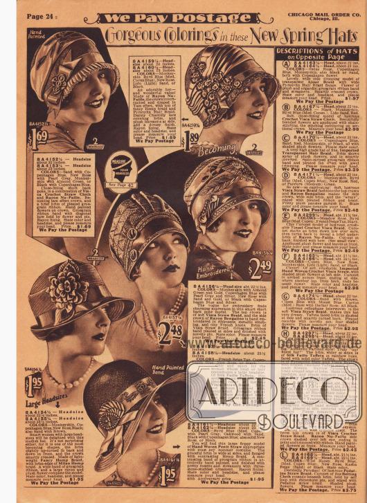 """Sechs verschiedene Modelle von Damenhüten aus Visca-Stroh, Rayon Faille, Rayon Bengaline, Pyroxylin Gewebe, Seiden Faille Taft, Hanfgeflecht, mailändischem Hanfgeflecht (engl. """"milan hemp"""") oder handgewebtem """"Penit""""-Stroh. Die Hüte zeigen zumeist kurze oder gar keine Krempen. Ein breitrandiges Modell. Einzelne Hutköpfe sind leicht drapiert wie Schottenhüte oder geknifft. Ripsbänder, Schleifen, Kunstblüten, Hutnadeln, Chantilly-Spitze oder Stickereien werten die Modelle auf."""