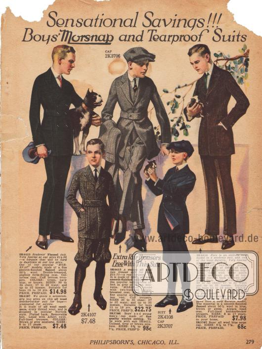 Drei Anzüge für junge Männer von 15 bis 19 Jahren aus Flanell und reinem Woll-Kaschmir. Zwei Modelle zeigen einen hohen eingearbeiteten Taillengürtel. Eine passende Schiebermütze ist für das mittlere Modell bestellbar.Darunter befinden sich zwei Anzüge für Jungen von 8 bis 17 Jahren aus Woll-Kaschmir und Wolle im sogenannten Norfolk-Stil (hoher Taillengürtel und eingearbeitete Taschen am Sakko) mit kurzen Knickerbockerhosen.