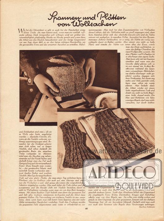 Artikel: Teichmann, Ilse-Dore, Spannen und Plätten von Wollsachen. In der Seitenmitte sind zwei Fotografien zum Thema zu finden, die das Spannen von gestrickten Wollsachen und den Effekt zeigen. Fotos: unbekannt.
