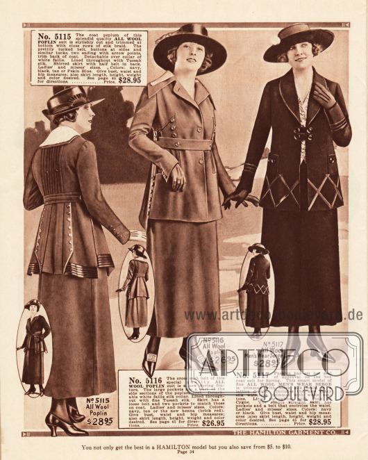 Hoch taillierte Kostüme aus Woll-Popeline und Woll-Serge. Bemerkenswert sind die unterschiedlich langen Jacken, die mit Tressen, Knöpfen, Plisseefalten und Ziernähten versehen sind.