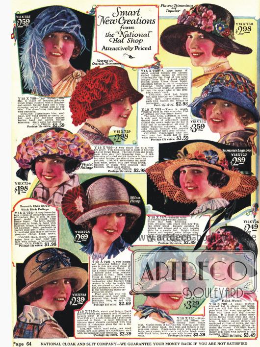 """""""Attraktiv im Preis"""" sind diese Hüte - Preise zwischen 1,98 und 3,59 $."""