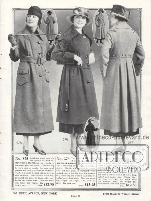 """Drei Mäntel für Frauen aus """"Koolkenny Crash Material"""" (Stoff der meist für Uniformen genutzt wird), Woll-Popeline und Cheviotwolle. Gerade der erste Mantel wurde von der Militärmode inspiriert. Der Kragen kann offen oder geschlossen (wie hier) getragen werden. Das zweite Modell zeigt einen sehr ausladenden Seglerkragen und seitliche Paneele. Danach folgt ein """"halb-militärischer"""" Mantel, der viele kleine Zierknöpfe aufweist und dem im Rücken sauber gelegte Falten eingenäht wurden."""