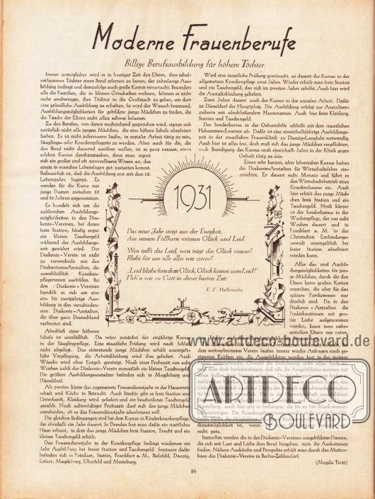 Artikel: Trott, Magda, Moderne Frauenberufe. Billige Berufsausbildung für höhere Töchter. Dazu ein kurzer Reim zum neuen Jahr 1931 von E. F. Malkowsky.