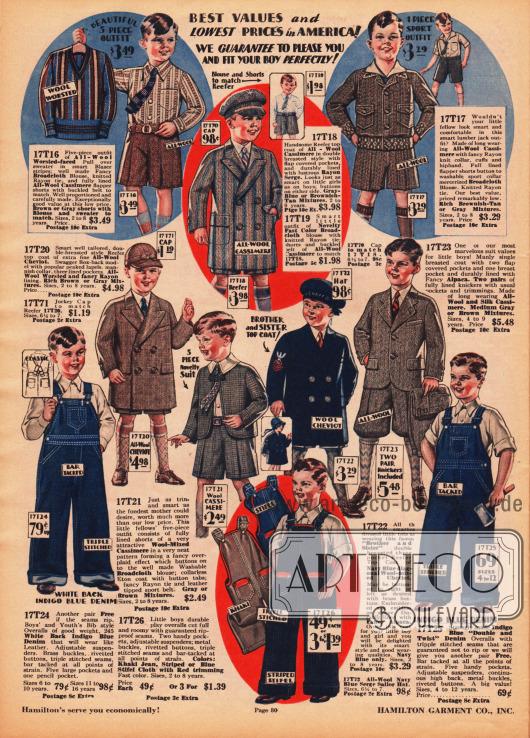 Mehrteilige Outfits, Anzüge und Mäntel für verschiedene, eher legere Aktivitäten. Die Kleidungsstücke sind aus Wollgeweben, Breitgewebe, Woll-Kaschmir, Woll-Cheviot und Alpaka. Zu einzelnen Outfits werden auch passende Mützen angeboten. Die Kleidung ist etwa für 2 bis 8-jährige Jungen ausgelegt. Im unteren Bildbereich finden sich drei Arbeits- und Spieloveralls für 2 bis 12-jährige Jungen. Die Overalls sind aus blauem Denim (Jeansstoff) und Khakistoff.