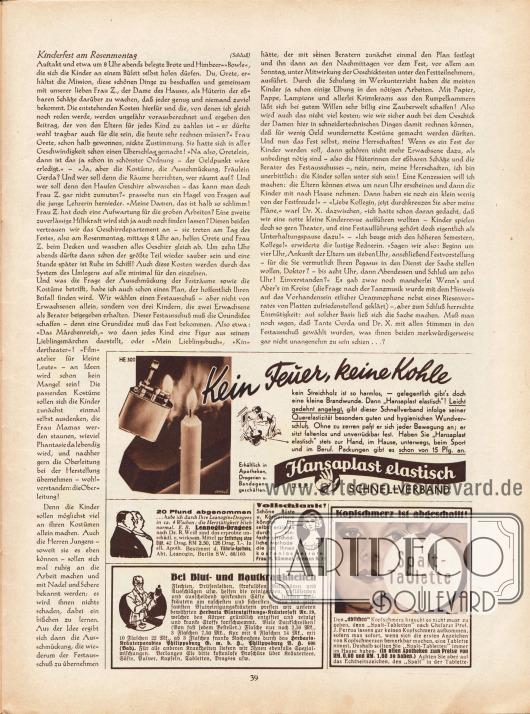 """Artikel:Sell, Anita, Kinderfest am Rosenmontag.Werbung:Hansaplast elastisch, Schnellverband&#x3B;Leanogin-Dragees zum Abnehmen und Entfetten, Viktoria-Apotheke, Abt. Leangonin, Berlin SW. 68/160&#x3B;""""Vollschlank!"""", Hausmittel für schöne Büste und Körperform, Frau M. Kümmel, Bremen B. 37&#x3B;""""Bei Blut- und Hautkrankheiten"""", Herbaria Blutentgiftungs-Kräutersaft Nr. 19, Kräuterparadies Philippsburg GmbH, Philippsburg B. H. 608 (Bad.)&#x3B;Spalt-Tablette gegen Kopfschmerzen."""