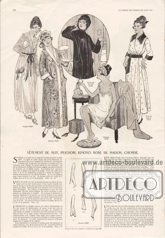 """""""Nachtkleider, Morgenmantel, Kimono, Hauskleid, Hemdchen"""" (frz. """"Vêtement de nuit, peignoir, kimono, robe de maison, chemise"""").9206: Einfacher, aber hübscher Morgenmantel/Bademantel aus Musselin und Spitze. Kragen, Ärmel und aufgesetzte Taschen sind mit Rüschen versehen. Dunkles Band dient als Gürtel.9198: Attraktiver Kimono aus phantasievoll bedrucktem Kreppstoff garniert mit weißem Satin als Berandung.Rechts oben in der Bildmitte befindet sich dasselbe Modell mit Knopfleiste, leicht verändertem Schnitt und mit Kapuze, das sich beispielsweise für eine Schiffsreise eignet.9222: Unterhemdchen aus Batist, das wahlweise auch aus Nainsook (leichtes Musselin), Linon, Waschseiden und ähnlich duftigen Stoffen geschneidert werden kann.9214: Hauskleid oder Morgenkleid das aus Coutil (Drillich), Perkal, Chambray und anderen Baumwollgeweben erstellt werden kann. Garnitur, Gürtel und aufgesetzte Tasche sind aus dunklem Material.9220 A-E1: Sechs verschiedene und moderne Ärmelvarianten, die beispielsweise zur Erneuerung eines alten Kleides oder einer Jacke genutzt werden können."""