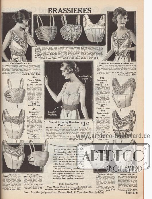"""""""Büstenhalter"""" (engl. """"Brassieres""""). Damenunterwäsche. Bustiers aus Batist, Cluny Spitze oder gemustertem Brokat, teilweise mit reichen Spitzenbordüren, Stickereien oder bogigen Kanten verziert. Unter den Modellen befinden sich auch Büstenhalter zum Formen der Brust (""""Bust Confiner"""") oder zur Abflachung der Brüste (""""Bust Reducer""""). Die Träger sind entweder aus dem Bustierstoff oder aus elastischem Material. Modelle mit Front- oder Seitenverschluss."""