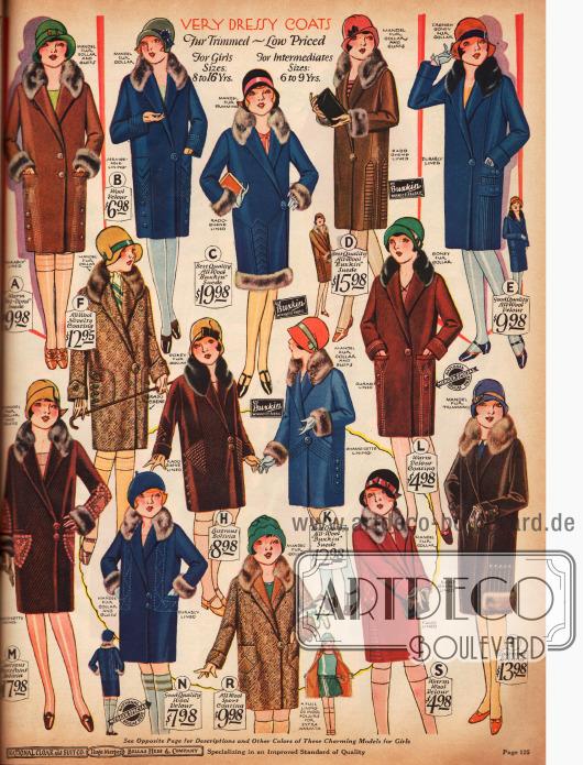 Wintermäntel mit Pelzbesatz für junge Damen von 8 bis 16 Jahren. Die Preise rangieren zwischen 4,98 und 19,98 $.
