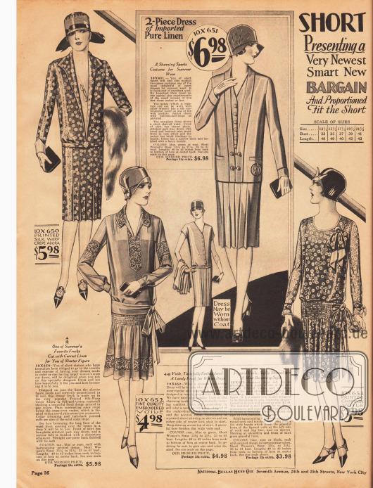 Tages- und Nachmittagskleider speziell für Damen, die kleiner sind als 5 feet 3 inch (etwa 1,60 m). Die Kleider bestehen aus bedrucktem Seiden Krepp Adora (Seiden-Baumwoll-Material), besticktem Schleierstoff, Leinen und bedrucktem Chiffon-Schleierstoff.Das erste, recht schlichte Kleid zeigt einen gerade sehr häufig anzutreffenden Westeneinsatz. Das zweite Modell ist hübsch an Kragen, Brust, Ärmeln und am Saum bestickt und zeigt eine Reihenziehung am Rock - ebenso wie das vierte Modell, das im Gürtelbereich und an den Schultern Reihenziehungen aufweist. Das dritte Modell besteht aus zwei Teilen, einem kurzärmeligen Kleid und einer Jacke aus gleichem Stoff.