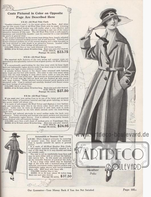 """Weitgeschnittener Frühjahrsmantel und gleichzeitig perfekter Sport- und Automantel aus Woll-""""Heather""""-Polo Gewebe (weich genoppter Stoff), der in den Farben Heidekrautblau (engl. """"Heather"""") oder Hellbraun für 37,50 Dollar bestellbar ist. Der Mantel besitzt Raglanärmel, einen schulterbreiten konvertierbaren Kragen, bogig eingelassene, große Taschen sowie einen abnehmbaren Gürtel aus dem Mantelmaterial. Teilweise mit originellem Seidenstoff gefüttertes Modell. Unterärmelmanschetten mit Knöpfen."""