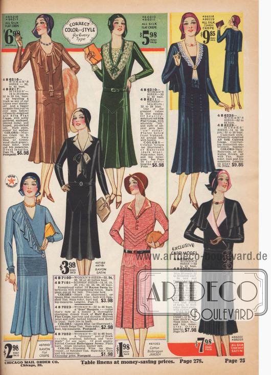 Sieben Kleider aus Seiden-, Rayon-, Woll-, Tweed-, Jersey-, Satin– und Georgettemischstoffen.
