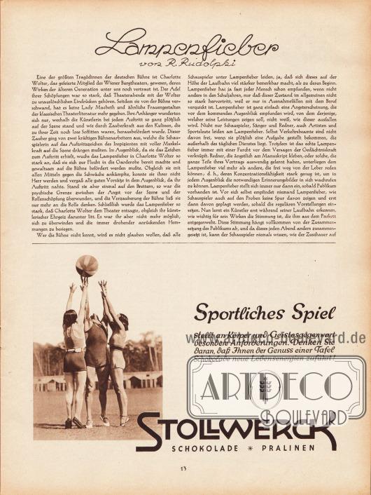 Artikel: Rudolphi, R., Lampenfieber. Werbung: Stollwerck Schokolade und Paralinen.