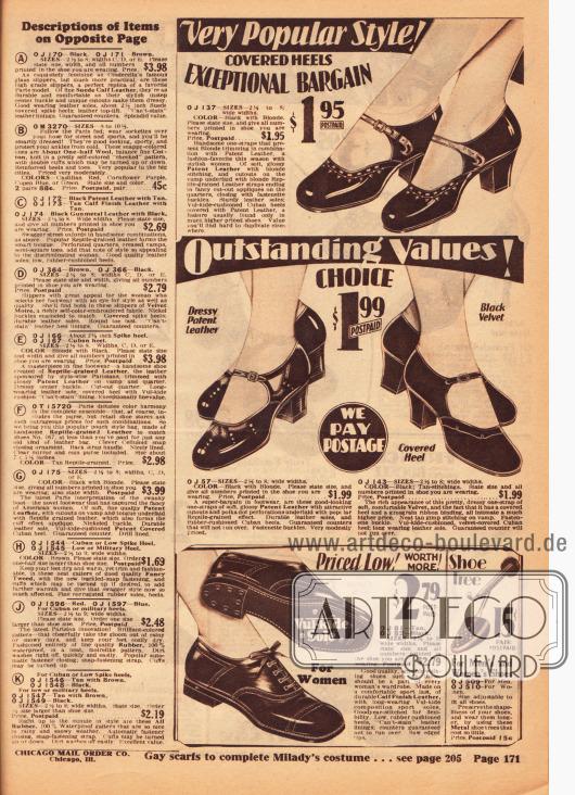 Günstige Damenschuhe mit Schnalle und niedrigen Absätzen aus Lackleder und Samt. Ganz unten wird ein bequemes und sportliches Oxford Paar mit flachem Absatz und Gummisohle angeboten. Rechts daneben werden auch Schuhspanner für 15 Cent angeboten. Auf der linken Seite befinden sich die Erklärungen der Modelle der für die nebenstehenden Farbseite 170.