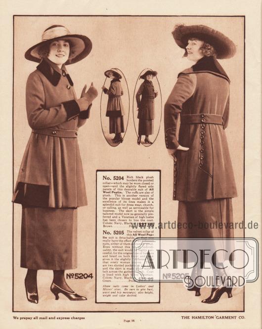 Zwei Kostüme aus dem mittleren Preissegment aus reinem Woll-Popeline für Damen. Das erste Kostüm ist in den Farben Marineblau, Schwarz sowie Braun erhältlich. Das zweite Kostüm ist neben den erstgenannten Farben auch in Grün zu haben. Das erste Modell ist recht einfach und glatt im Schnitt gehalten. Der konvertierbare Kragen sowie die Ärmelaufschläge und die Seitenbereiche der Kostümjacke sind mit dunklem Plüsch besetzt. Leichter Faltenwurf im Jackenschoß ausgehend vom schmalen Gürtel. Das rechte Kostüm besitzt einen breiten, abnehmbaren Kragen aus schwarzem Samt. Zwei abgeschrägte Taschen sind in die Jacke eingelassen. Leisten mit Zierknöpfen sowie Paspeln sind im Rücken und seitlich am Jackenschoß zu finden.