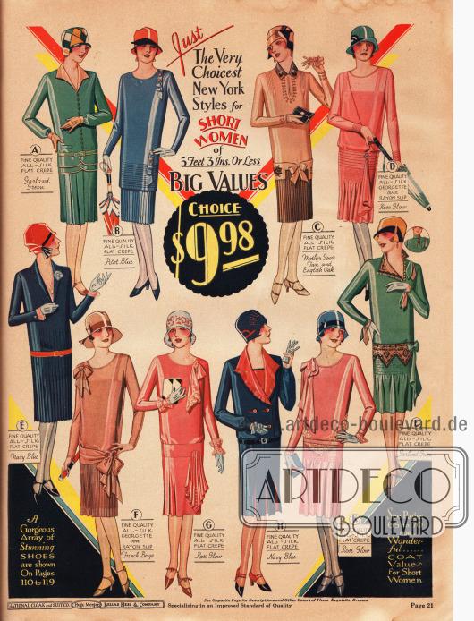 Zehn Damenkleider speziell für Damen, die kleiner sind als 5 feet 3 inches (rund 1,60 cm). Die Tageskleider sind entweder aus Seiden Krepp oder Seiden-Georgette über einem Unterkleid aus Rayon. Alle Kleider auf der Seite sind für jeweils 9,98 Dollar bestellbar.