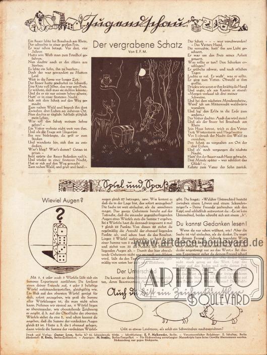 """Artikel (Jugendschau):E. F. M., Der vergrabene Schatz&#x3B;o. V., Spiel und Spaß (Wieviel Augen?&#x3B; Der Unterschied&#x3B; Du kannst Gedanken lesen!).Darunter befindet sich eine einfache Anleitung für Kinder zum Zeichnen eines Schweines (""""Auch du bist ein Zeichenkünstler"""").Zeichnungen: unbekannt.Impressum der Illustrierten Modenschau."""