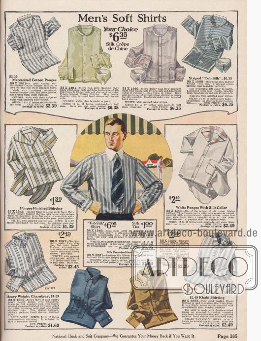 """""""Weiche Herrenhemden – Ihre Wahl für 6,35 Dollar"""" (engl. """"Men's Soft Shirts – Your Choice $6.35""""). Anzughemden (oben) aus Seiden-Crêpe de Chine und merzerisiertem Baumwoll-Pongee (Japanseide), Sporthemden (Mitte links und rechts) mit angeschnittenen, breiten Kragen aus Pongee und Madras sowie Arbeitshemden (unten) aus Chambray und Khakigewebe für junge Männer und Herren. Die Hemden sind in einfarbigen Ausführungen oder gestreift bestellbar. Für die oberen Anzughemden müssen passende Kragen separat bestellt werden (siehe S. 388)."""