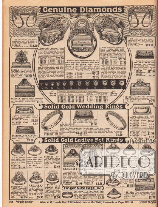 Schmuck für Damen. Ornamentierte Ringe, Eheringe und Hochzeitsringe aus Weißgold und Gelbgold mit echten Diamanten, Onyxen oder auch mit synthetischen Rubinen, Saphiren und Perlen. Die Hochzeitsringe konnten zudem auch ohne zusätzlichen Aufpreis graviert werden.