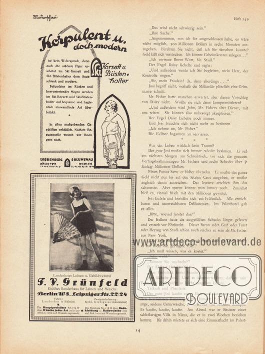 Artikel:Jung, Hans, Der Bräutigam auf Probe.Werbung:Ski-Korsett und Ski-Büstenhalter, Lobbenberg & Blumenau, Köln RH, Zeppelinstr. 9 sowie Berlin, Leipzigerstr. 73-74&#x3B;F. V. Grünfeld, Sonderhaus für Leinen und Wäsche, Berlin W 8, Leipziger Str. 22/24.